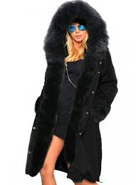 fashion hooded faux fur trim parka coat black l
