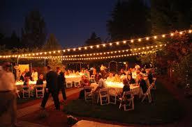 string lights backyard weddings and backyards on pinterest backyard party lighting