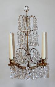 pair of swedish gustavian style crystal and bronze candle wall sconces for 1