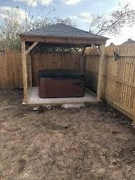 wooden gazebo hot tub shelter pergola shingled roof includes installation 11