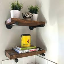 6 Depth Rustic Industrial Wood Pipe Shelf Bracket Shelving Wall Shelves And  . Black Pipe Shelf ...