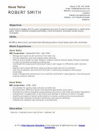 Resume For Teller Position Head Teller Resume Samples Qwikresume