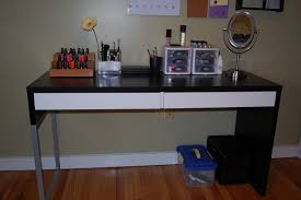 ikea home office images girl room design. Charming Ikea Micke Desk In White And Black Theme With Double Drawers Also As Makeup Table On Wooden Floor Which Matched Gainsboro Wall For Girl Room Home Office Images Design