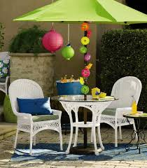 contemporary tiled patio with white painted wicker cushioned pier one chair sets and white painted