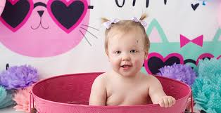 baby girl pink bathtub bucket cats cake smash kingston photographer
