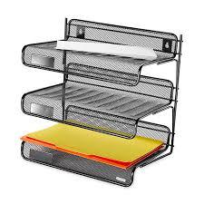 com rolodex mesh collection 3 tier desk shelf letter size black 22341 office desk trays office s