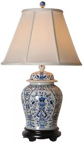 english blue and white porcelain temple jar table lamp style