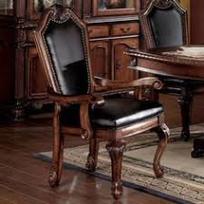 cau de ville shield back dining arm chair with faux leather seat and back by acme furniture