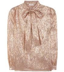 Metallic rose gold silk blend pussy bow blouse Saint Laurent.