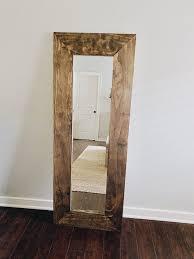 diy farmhouse wood framed mirror she