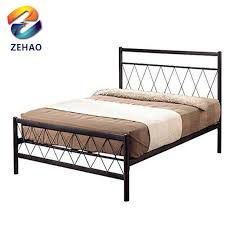 Wooden post wrought iron bed frame double box bed