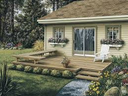 low patio deck offers a stylish design with built in l shaped bench in