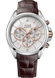 new hugo boss men 039 s watch 1512881 silver case brown leather image is loading new hugo boss men 039 s watch 1512881