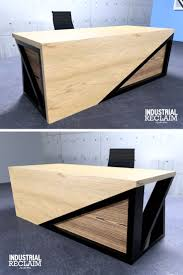 desks for office. Modern Asymmetric Executive Waterfall Desk - Steel \u0026 Oak Yakisugi Accents Desks For Office