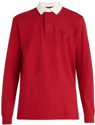 polo ralph lauren logo embroidered cotton rugby shirt mens red