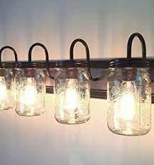 Lamp Goods Mason Jar Bathroom Vanity 5 Light Wide Mouth Jars Farmhouse Goals