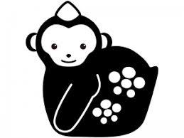 猿の置物のシルエットイラスト イラスト無料かわいいテンプレート