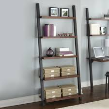 exciting office room storage design with dark wood leaning bookcase with desk on wood flooring plus white baseboard