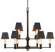 bradley 2 tier 10 light chandelier cordoban bronze black shades