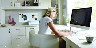 home office work. woman working in home office work h