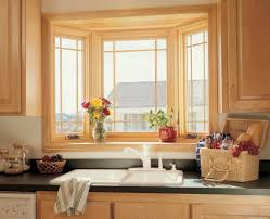 Bay Window Kitchen Small Bay Window Above Kitchen Sink With White Kitchen Cabinets