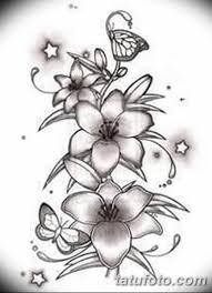 черно белый эскиз тату лилия 09032019 003 Tattoo Sketch