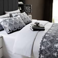 full queen size black and white fl cotton 4 piece duvet cover set