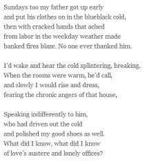 Those Winter Sundays By Robert Hayden Writing Poetry Cool