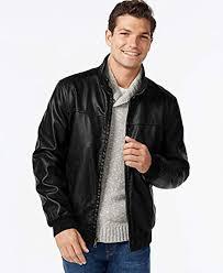 tommy hilfiger men s black faux leather er jacket