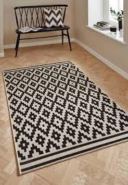 black geometric rug cottage ct5581 woolblack geometric rug by think rugs black and off white geometric