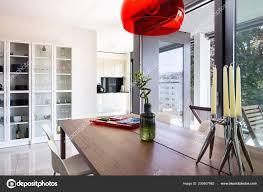 Esszimmer Detail Mit Design Tisch Und Stühle Modernen