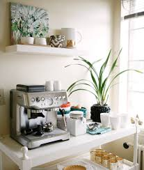 office coffee station. white wood coffee station table with maker under floating cup shelves for small spaces ideas office r