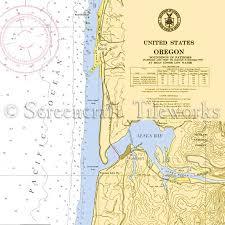Oregon Alsea Bay Waldport Nautical Chart Decor