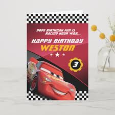 Folded Birthday Card Cars Lightning Mcqueen Folded Birthday Card