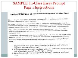 by kristina yegoryan workshop in class essay how to structure  9 sample in class essay prompt page 1 instructions
