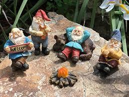 happy gnomes c 6 piece garden gnome set for the miniature fairy garden by glitzglam wl