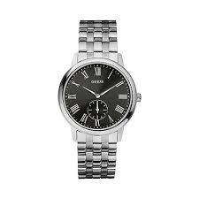 guess mens silver bracelet watch black dial w80046g1 debenhams about this item