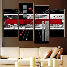 4 pcs set canvas wall art picture red black grey combined canvas modern abstract wall painting wall art top home decoration in painting calligraphy from  on grey and white canvas wall art with 4 pcs set canvas wall art picture red black grey combined canvas