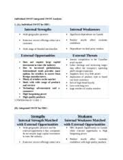 individual swot integrated swot analysis individual swot  individual swot integrated swot analysis individual swot integrated swot analysis 1 a individual swot for hbc internal strengths internal weaknesses
