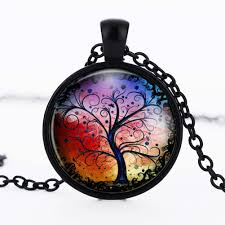 whole vintage multicolor tree of life round pendant necklace faux gem jewelry charm necklace women gift single diamond pendant necklace silver heart
