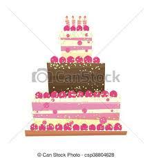 Birthday Or Wedding Cakevector Illustration Birthday Or Wedding