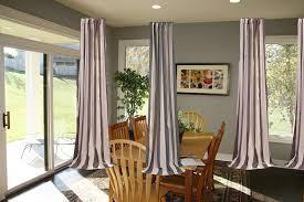 Ravishing Ceiling To Floors Grey Fabric Curtain Patio Door Window Treatments  As Inspiring Curtain Divider Room For Divide Dining And Living Room Ideas