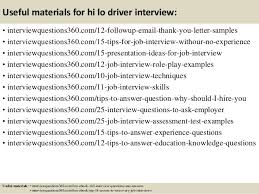 Top 10 Hi Lo Driver Interview Questions And Answers