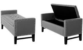 black tufted storage bench. Contemporary Button-Tufted Linen Storage Bench: Button- Tufted Bench Black O