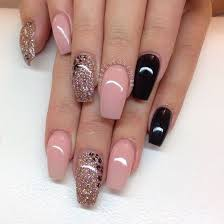 pale pink and black nail art design idea