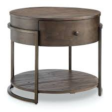 small accent tables with drawers modern rustic dark whiskey reclaimed wood round accent table