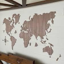 wooden world map wall art oak