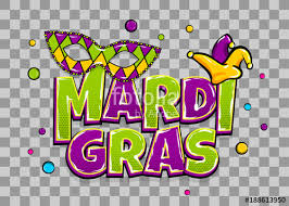 ics text mask isolated colored shimmer random falling mardi gras fat tuesday carnival