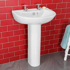 essentials budget full pedestal 2 tap