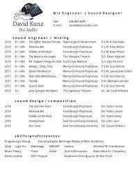 Audio Resume Resume David Kunz Audio